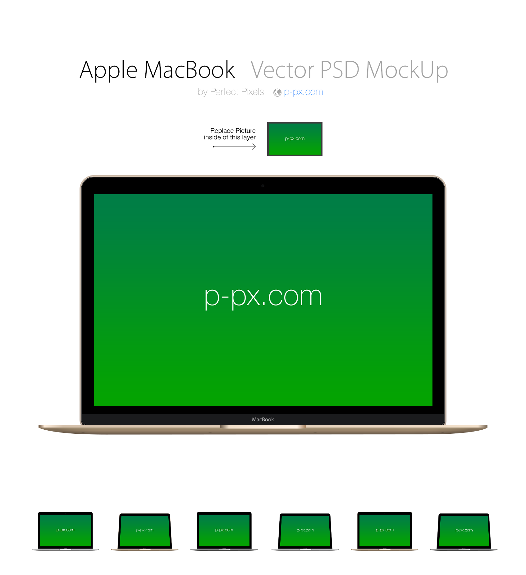 Apple MacBook 2015 Retina PSD + AI Mockup (Frontal)
