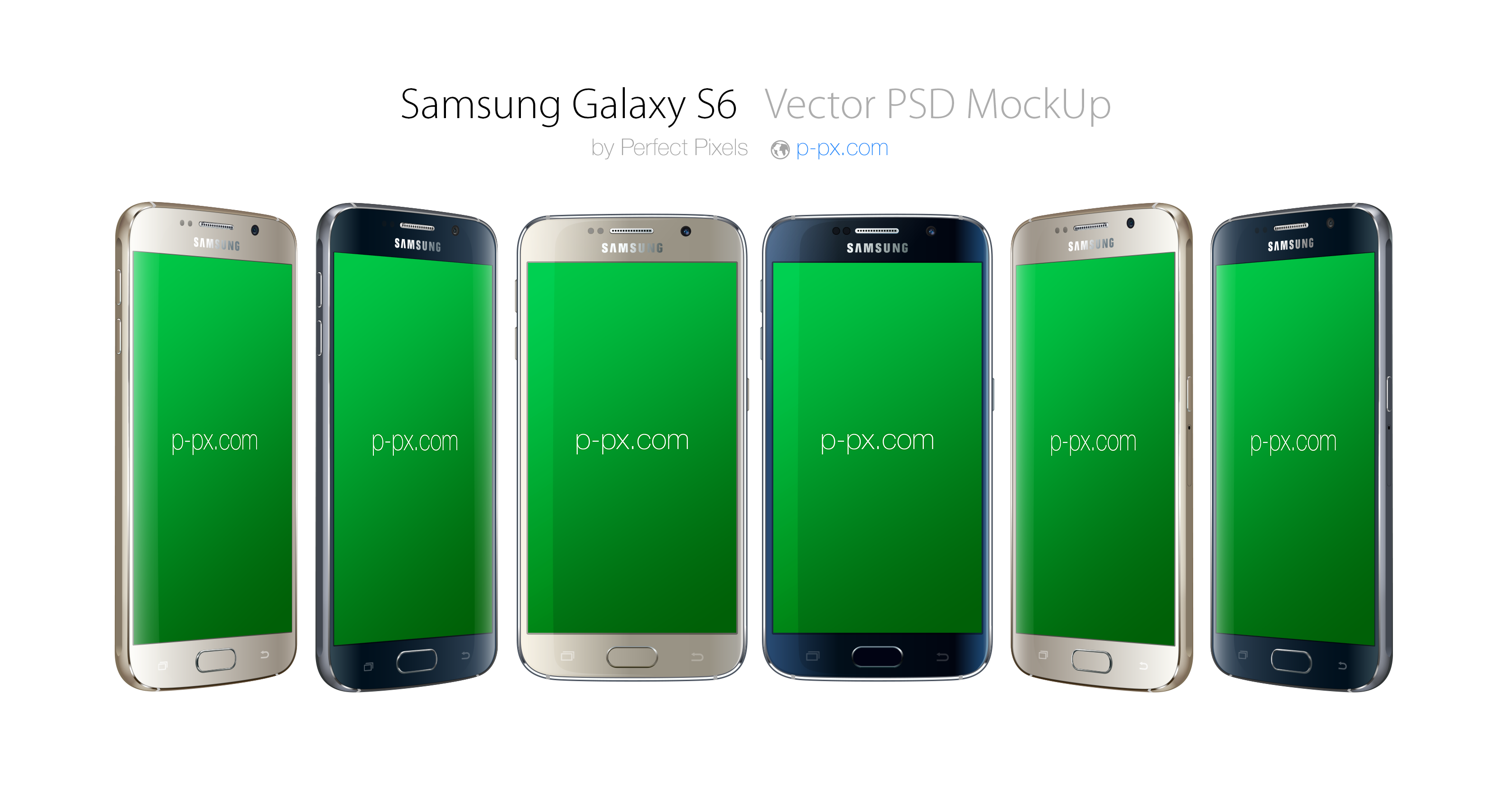 Samsung Galaxy S6 All Colors Front + 3/4 Angled PSD + AI Vector Mockup