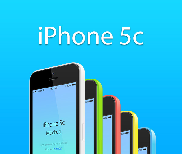 iPhone 5с 3/4 views All Colors Vector PSD MockUp