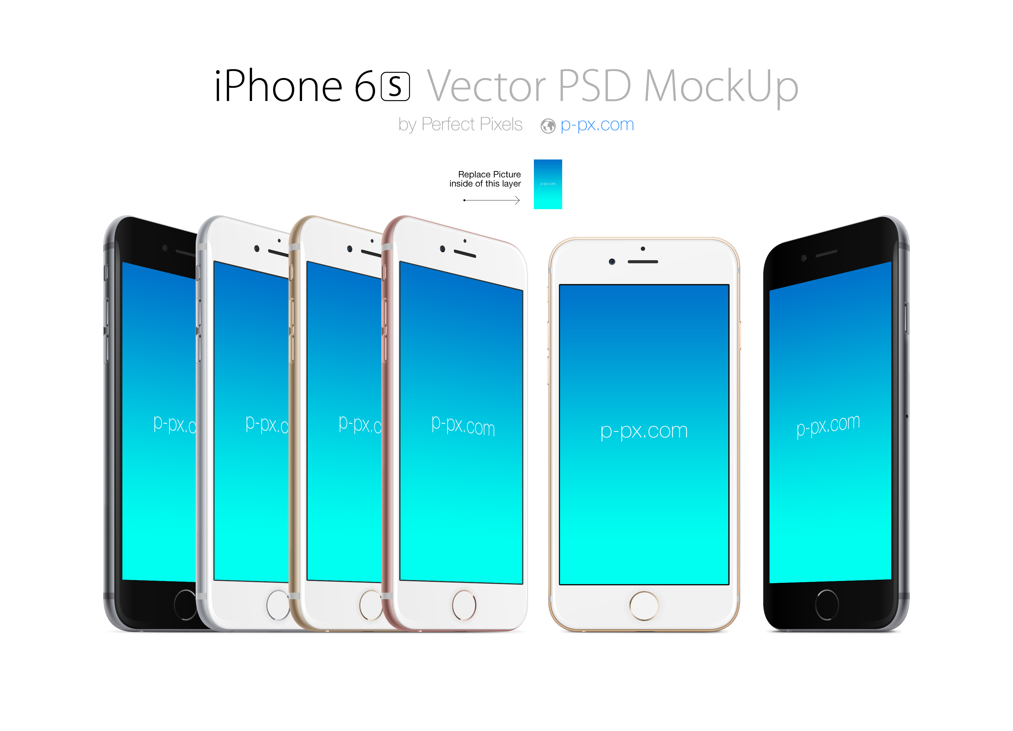 iPhone 6S front and angled views PSD + Ai mockup  Perfect