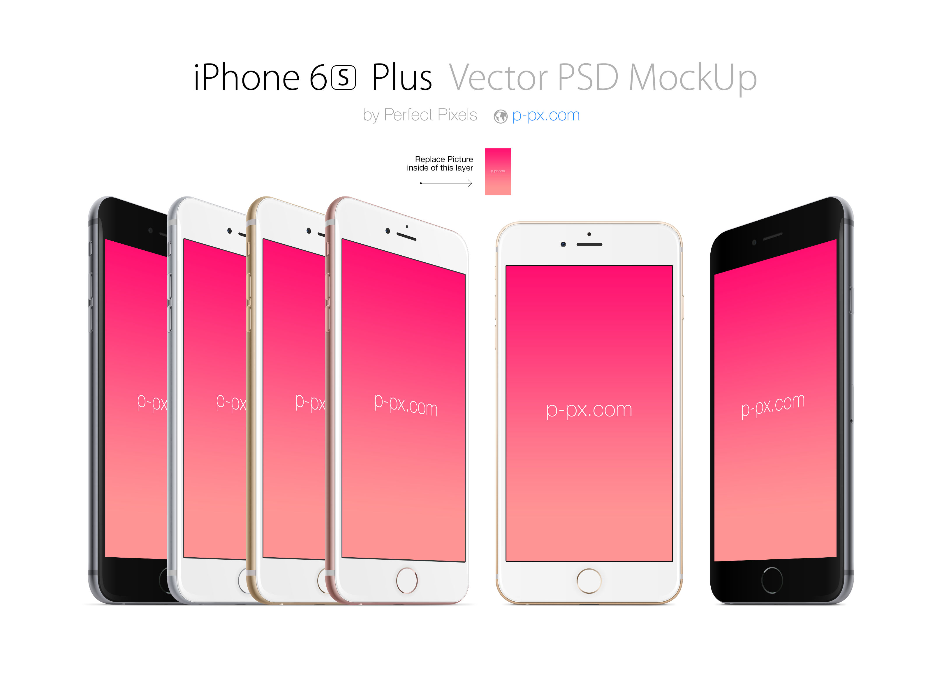 iPhone 6S Plus front and angled PSD + Ai Vector Mockup. Perfect ...