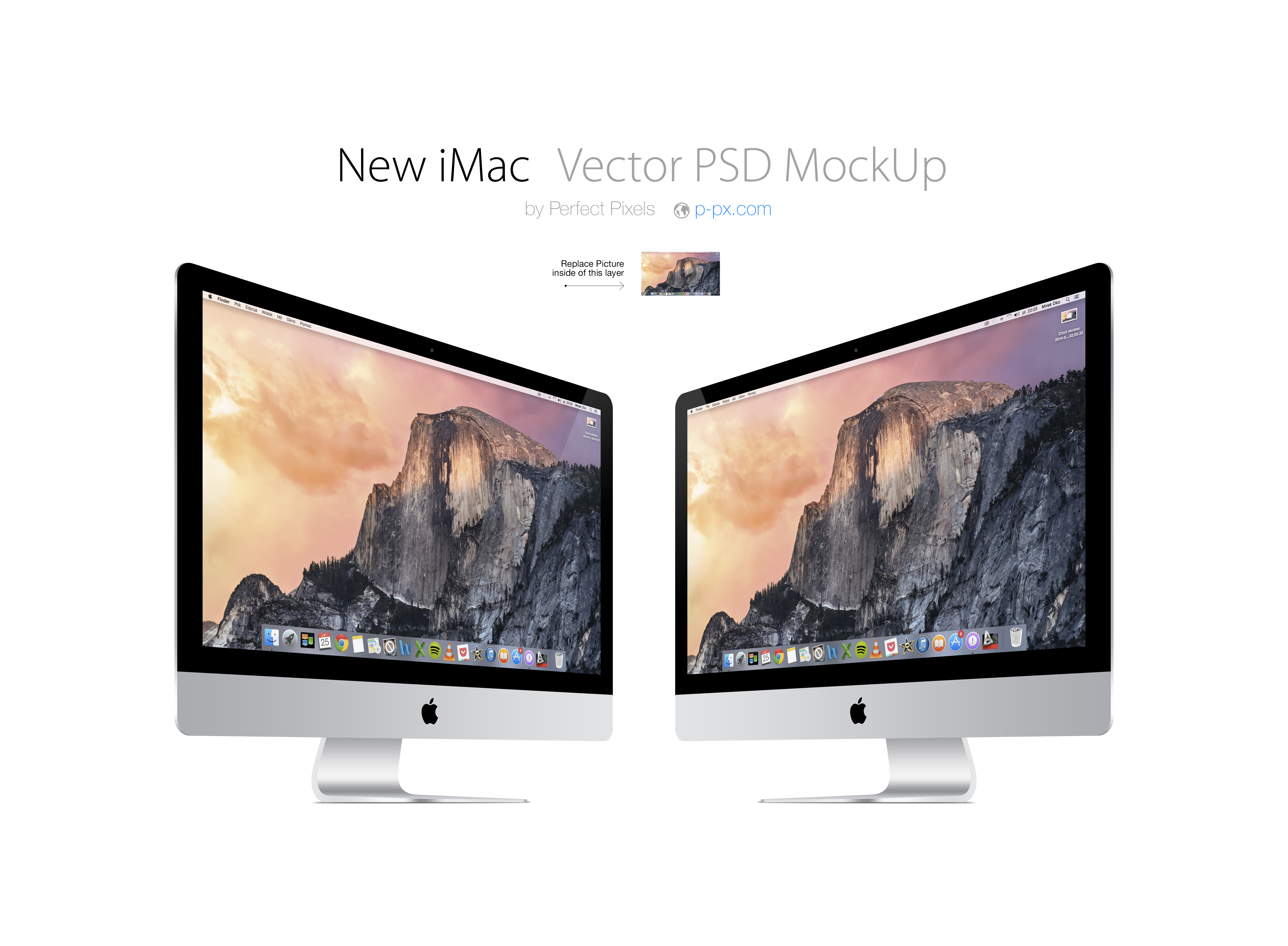New iMac 3/4 views Vector PSD MockUp